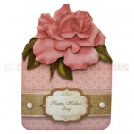 Dusky Pink Rose Shaped Fold Card - view 1