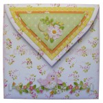 Birds & Blossoms Quad Petal Shaped Fold Card - envelope back