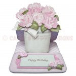 Pot of Pink Roses Shaped Easel Card - view 1