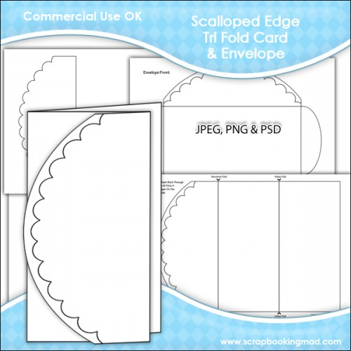 Scalloped edge tri fold card envelope template for Tri fold tent card template