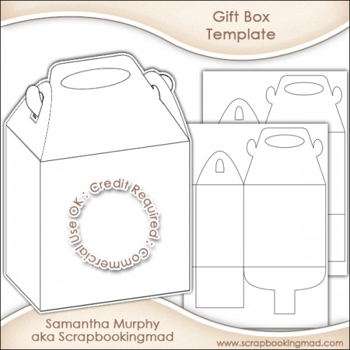 Gift Box Template Commercial Use OK - £3.50 : Scrapbookingmad.com
