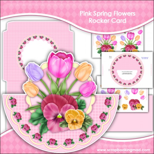 Pink Spring Flowers Rocker Card Download - Click Image to Close