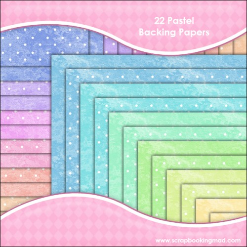 22 Pastel Backing Papers - Click Image to Close