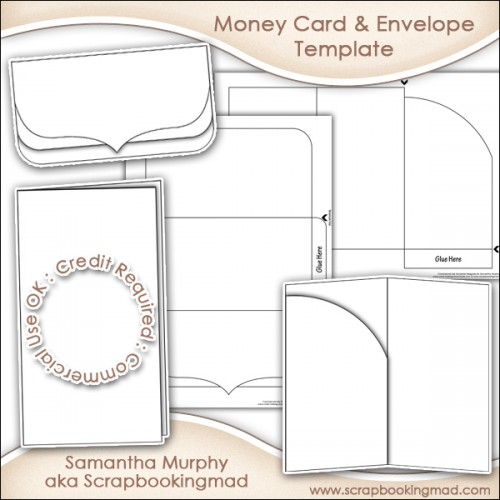 Money Gift Card  Envelope Template Commercial Use