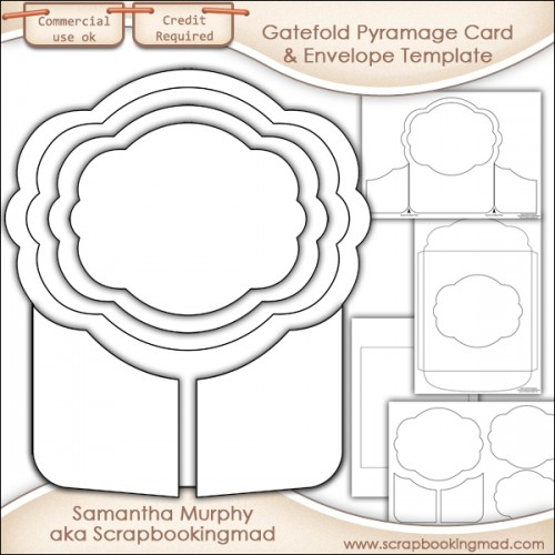Gatefold Pyramage Card & Envelope Template Commercial Use - Click Image to Close
