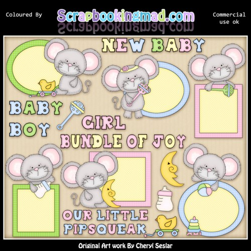 Mouse Peekers Baby EXCLUSIVE ClipArt Collection - Click Image to Close