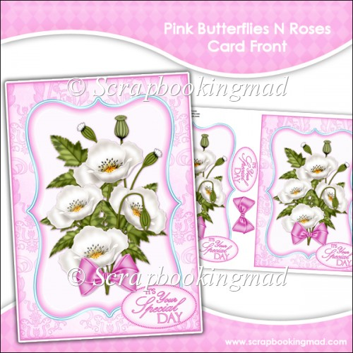 Pink Butterflies N Roses Card Front - Click Image to Close