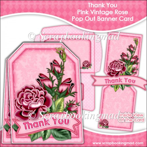Thank You Pink Vintage Rose Pop Out Banner Card - Click Image to Close
