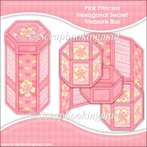 Pink Princess Hexagonal Secret Treasure Box - Click Image to Close