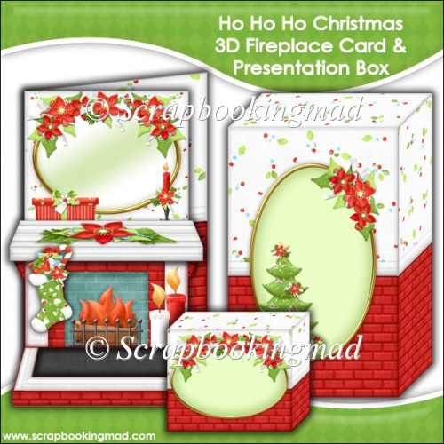 Ho Ho Ho Christmas 3D Fireplace Card & Presentation Box - Click Image to Close