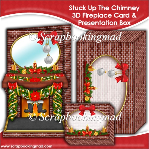 Stuck Up The Chimney 3D Fireplace Card & Presentation Box - Click Image to Close