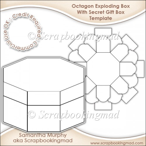 Exploding Box With Secret Gift Template CU OK