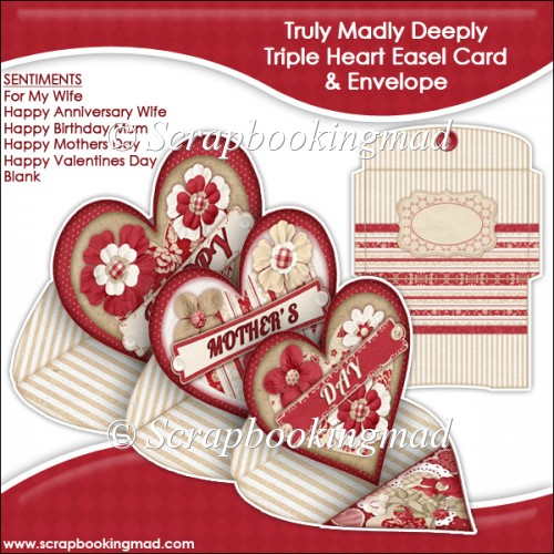 Truly Madly Deeply Triple Heart Easel Card - Click Image to Close