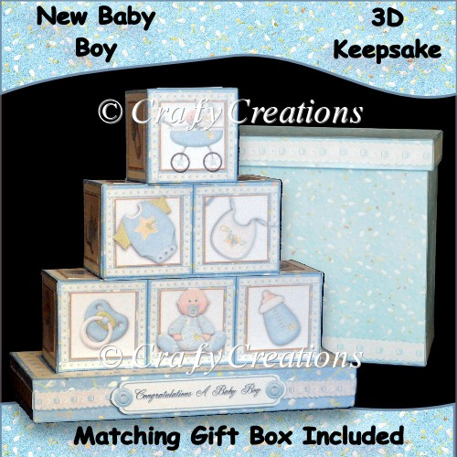 New Baby Boy 3D Keepsake Blocks - Click Image to Close