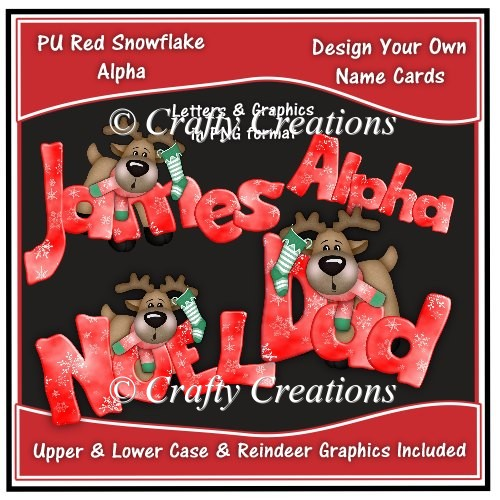 Alpha - Red Snowflakes Reindeer - Click Image to Close