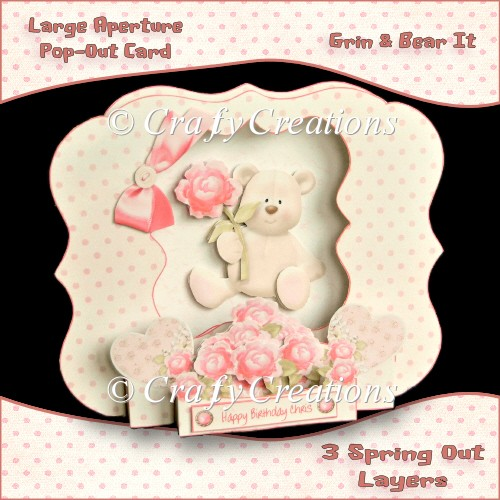 Large Aperture Pop-Out Card - Grin & Bear It - Click Image to Close