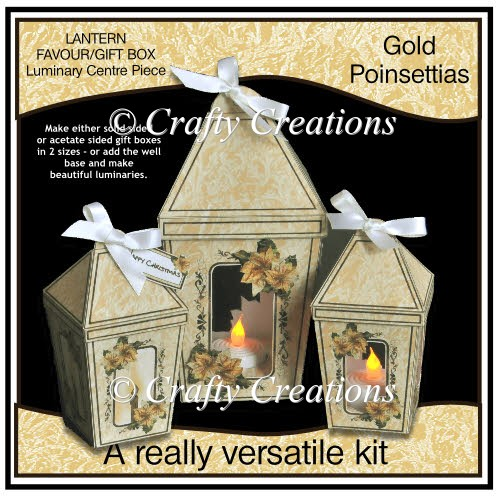 Lantern Shaped Gift Boxes/Luminaries - Gold Poinsettias - Click Image to Close