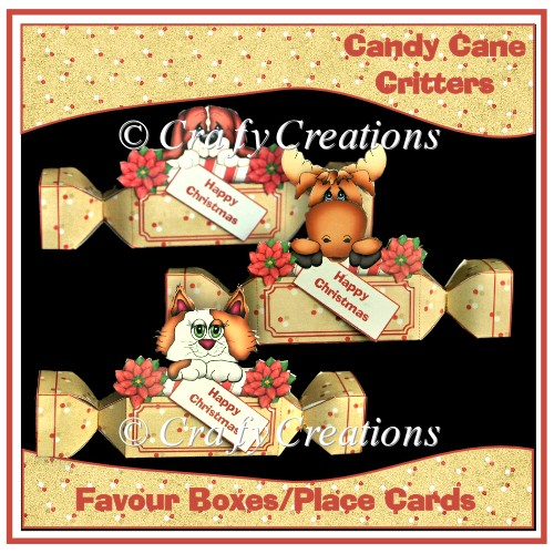 Candy Cane Critters - Favour Boxes/Place Cards - Click Image to Close