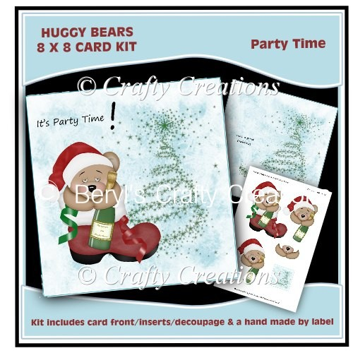 Huggy Bears 8 x 8 Card Kit - Party Time - Click Image to Close