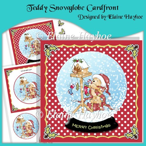 Teddy Snowglobe Cardfront with Pyramage - Click Image to Close