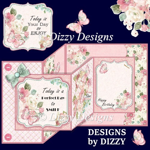 Floral Double Z Fold Card - Click Image to Close
