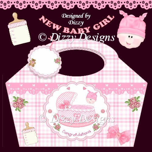 Rock A Bye Baby Girl Gift Basket and Tag - Click Image to Close