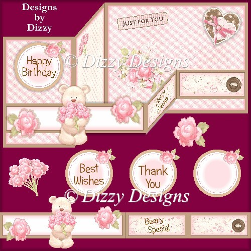 Flower Bear Double Z Fold Card - Click Image to Close