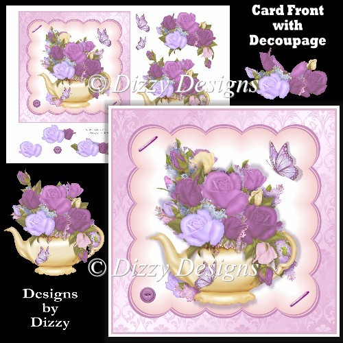 Teapot Floral Arrangement Card Front - Click Image to Close