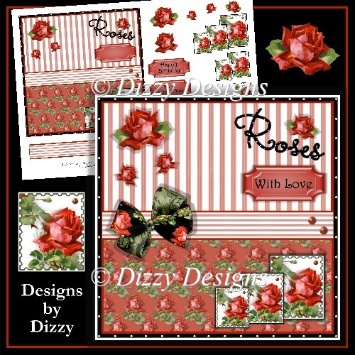 Red Roses Card Front & Decoupage - Click Image to Close