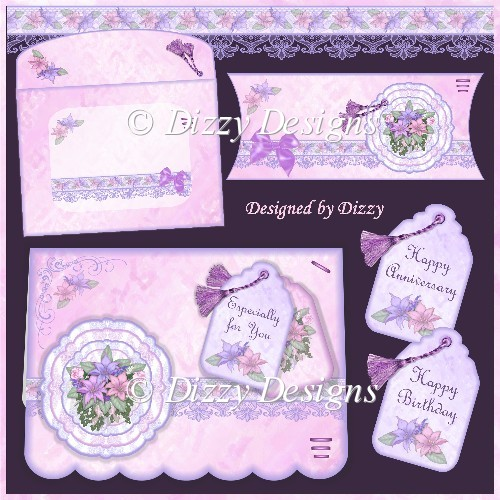 Lilies and Lace Card Kit with Pillow Box - Click Image to Close