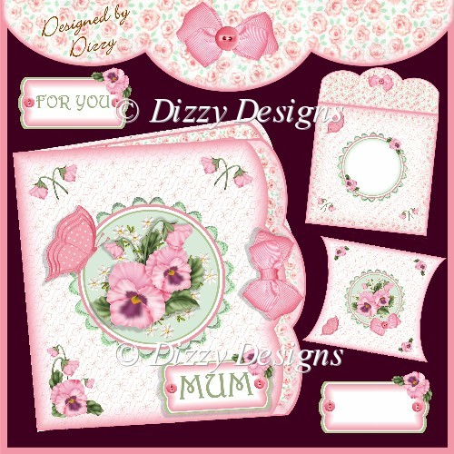 PINK PANSIES Double edge effect card with Pillow Box - Click Image to Close