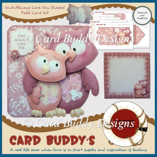 Owl Always Love You Shaped Fold Card Kit - Click Image to Close