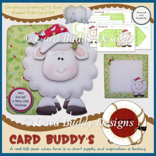 Christmas Greetings To Ewe Shaped Fold Card Kit - Click Image to Close