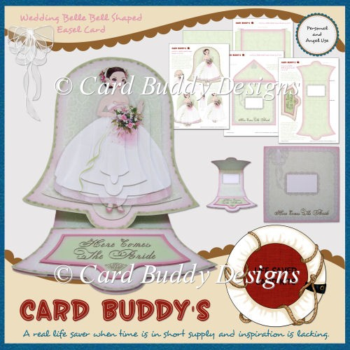 Wedding Belle Bell Shaped Easel Card Kit - Click Image to Close