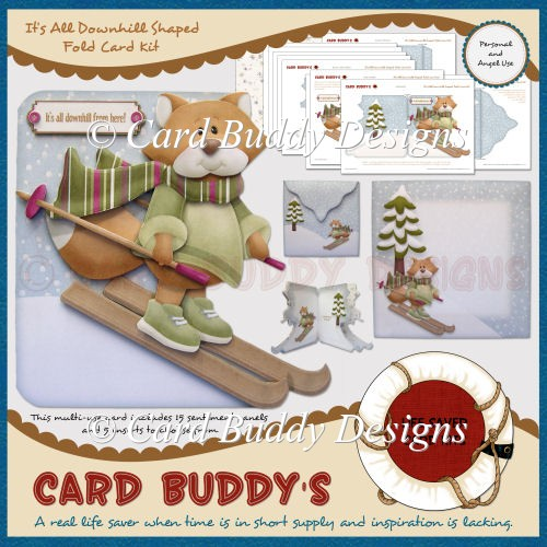It's All Downhill Shaped Fold Card Kit - Click Image to Close