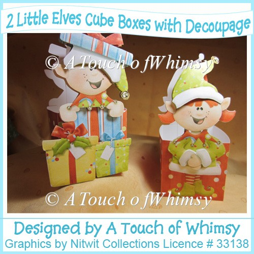 2 Little Elves Boxes/Baskets with Decoupage - Click Image to Close