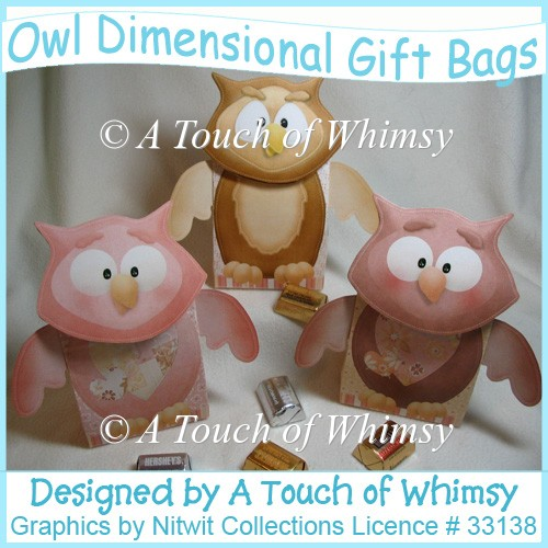 Owl Dimensional Gift Bags - Click Image to Close