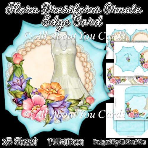 Flora Dressform Ornate Edge Card - Click Image to Close