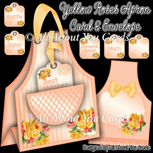 Yellow Roses Apron Card & Envelope - Click Image to Close