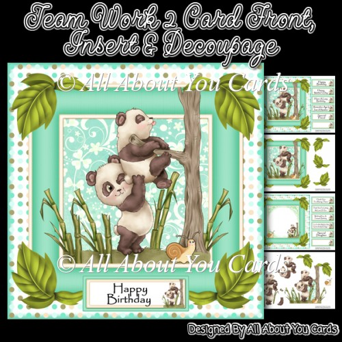 Team Work 2 Decoupage Card Front & Insert - Click Image to Close