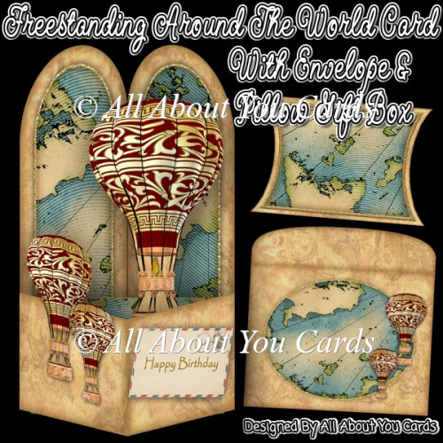 Freestanding Around The World Card & Envelope & Pillow Gift Box - Click Image to Close