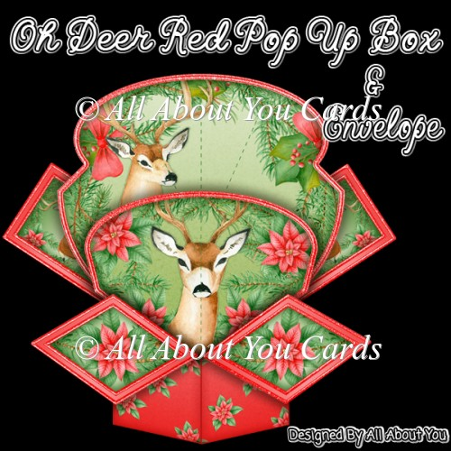 Oh Deer Red Pop Up Box Card & Envelope - Click Image to Close