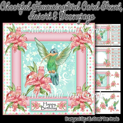 Cheerful Hummingbird Decoupage Card Front & Insert - Click Image to Close