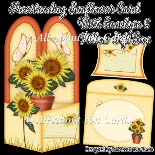 Freestanding Sunflower Card & Envelope & Pillow Gift Box - Click Image to Close