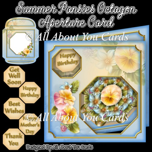 Summer Pansies Octagon Aperture Card - Click Image to Close