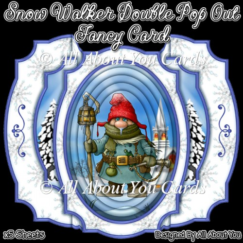 Snow Walker Double Pop Out Fancy Card - Click Image to Close