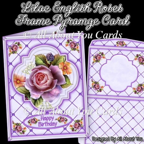 Lilac English Roses Frame Pyramage Card - Click Image to Close