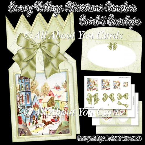 Snowy Village Christmas Cracker Card & Envelope - Click Image to Close