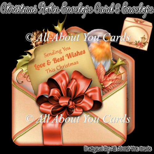 Christmas Robin Envelope Card & Envelope - Click Image to Close