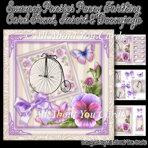 Summer Pansies Penny Farthing Card Front - Click Image to Close